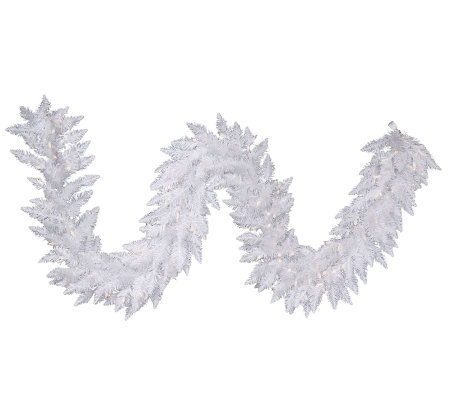 9' White Sparkle Spruce Garland with LED