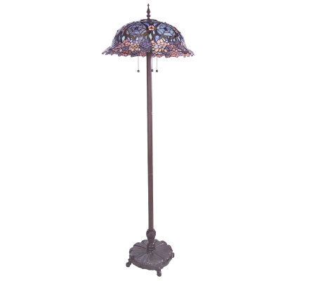 Limited edition tiffany style spider web floral 64 1 2 for Tiffany floor lamp qvc