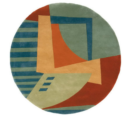 "Momeni New Wave Abstract 7'9"" Round Handmade Wool Rug"