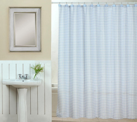 Tim Gunn Collection Gingham Shower Curtain Set with Hooks