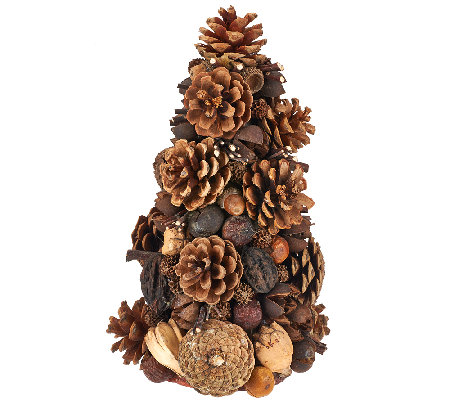 "ED On Air Natural Rustic 10"" Pinecone Tree by Ellen DeGeneres"