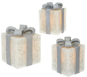 """As Is"" Set of 3 Illuminated Wax Gifts with Bows by Valerie - H208260"