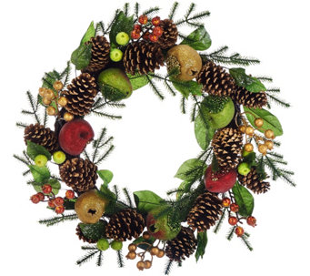 """As Is"" 19"" Beaded Fruit Wreath by Valerie - H210760"