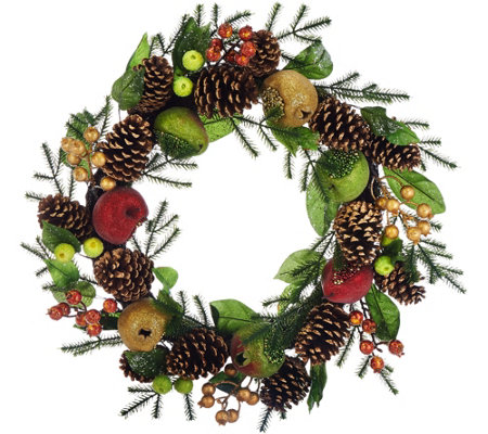 """As Is"" 19"" Beaded Fruit Wreath by Valerie"