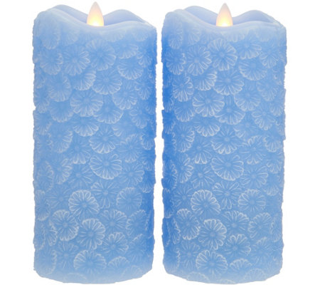 "Candle Impressions S/2 Mirage Gold 7"" Carved Floral Pillars"