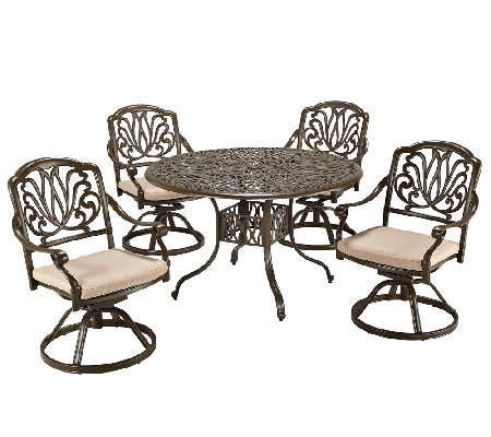 Home Styles Outdoor Floral Blossom Taupe 5-Piece Dining Set