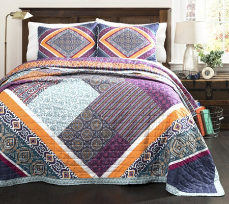 Abbie 3-Piece Patchwork Full/Queen Quilt Set byLush Decor