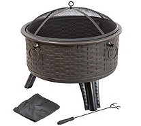 "Pure Garden 26"" Round Woven Metal Fire Pit withCover - H290760"