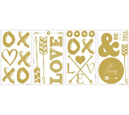 RoomMates Goldtone Love and Arrows Peel & StickWall Decals