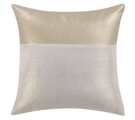 Vince Camuto Lille Metallic Faux Leather and Linen Pillow
