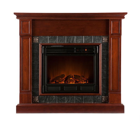 Arragon Electric Fireplace Mahogany With Darkgray Faux Slate Page 1