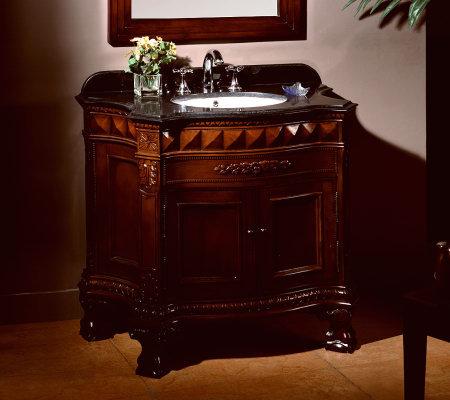 Biscay 36 Quot Bathroom Vanity With Black Granite Countertop