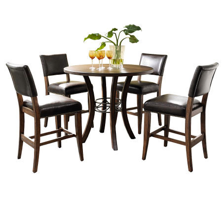 Hillsdale Cameron 5pc Ctr Ht Rnd Dining Set w/Parson Chairs
