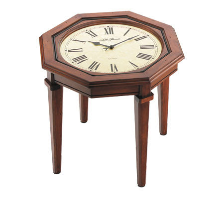 Seth Thomas Walnut Finish Octagonal Coffee Table Clock