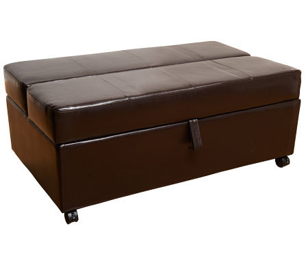 Roll-Away Faux Leather Ottoman with Fold Out Twin Mattress