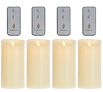 "Set of 4 Luminara 7"" Flameless Ivory Candles with 4 Remotes - H205861"