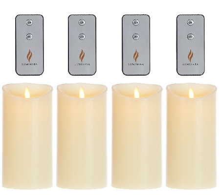 "Set of 4 Luminara 7"" Flameless Ivory Candles with 4 Remotes"