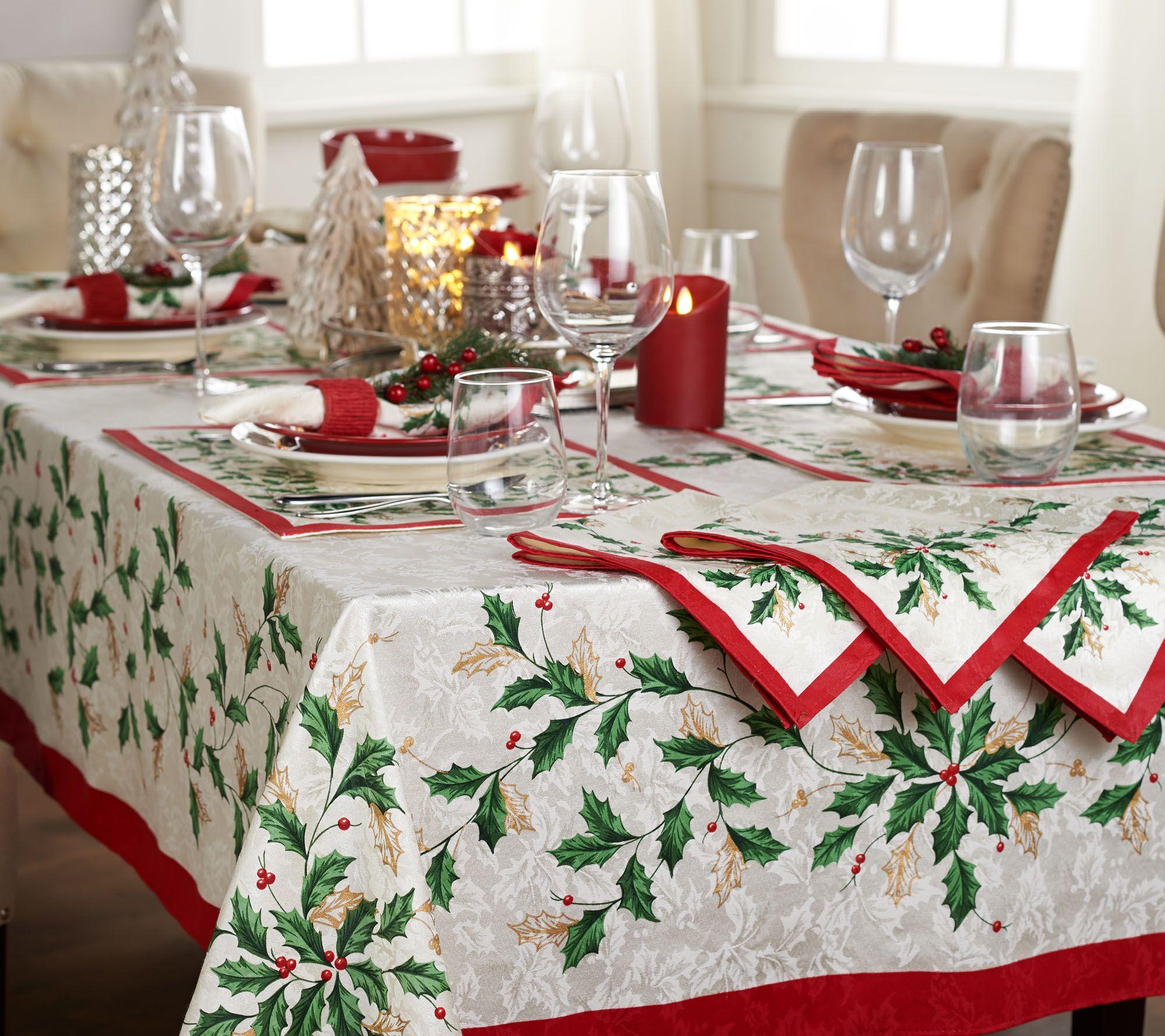 Lenox Holiday Table Cloth and Napkin Set — QVC.com