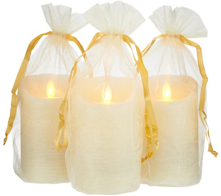 Set of 3 Mirage Rustic Pillars w/ Gift Bags by Candle Impressions