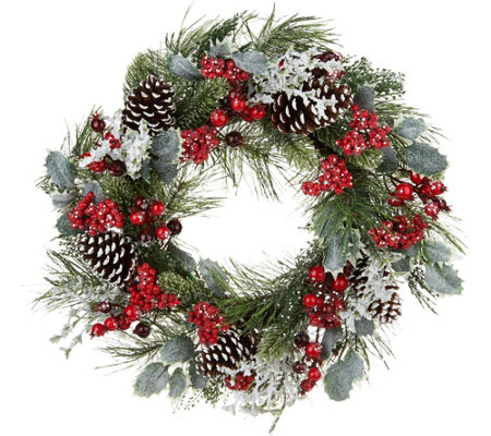 """As Is"" 24"" Wreath with Berries, Holly, and Pinecones by Valerie"