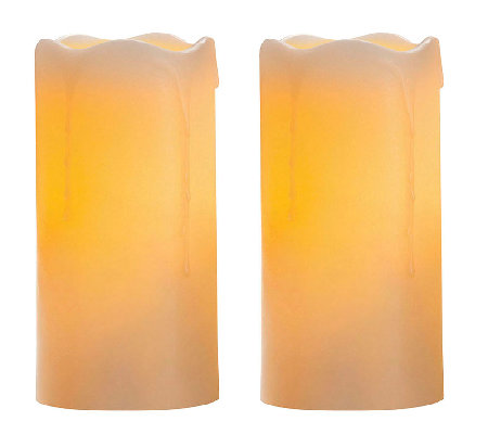 "Candle Impressions Set of Two 6"" Flameless Pillar Candles"