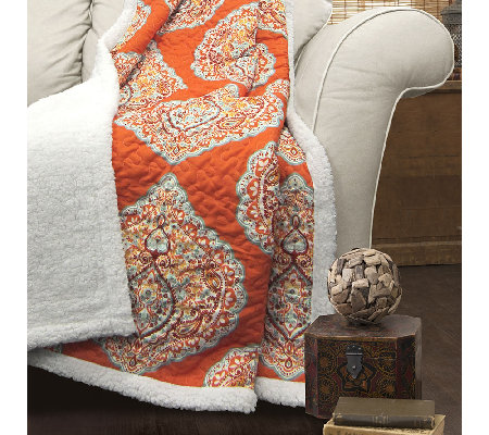 Harley Sherpa Tangerine Throw by Lush Decor