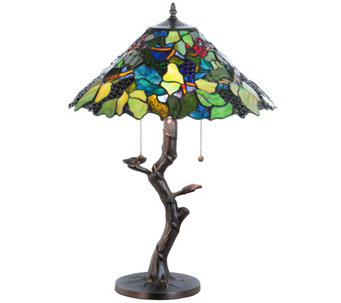 Meyda Tiffany-Style Grape Harvest Apple Tree Table Lamp - H288161