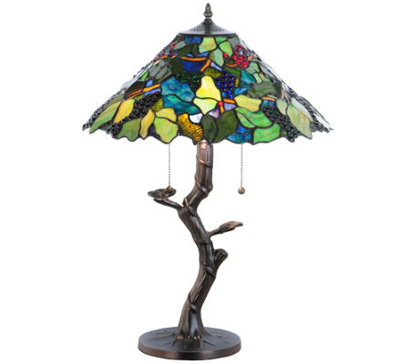 Meyda Tiffany-Style Grape Harvest Apple Tree Table Lamp