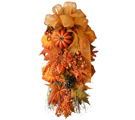 "30"" Fall Harvest Door Swag by Valerie"