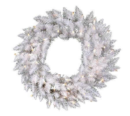 "24"" White Sparkle Spruce Wreath w/ LED"