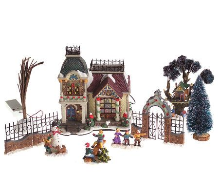 10 Piece Fiber Optic Christmas Village Set — QVC.com
