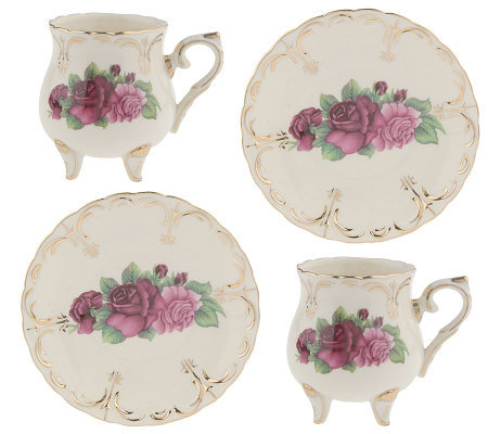 Victorian-style Set of 2 Porcelain Tea Cups with Saucers  sc 1 st  QVC.com & Victorian-style Set of 2 Porcelain Tea Cups with Saucers \u2014 QVC.com