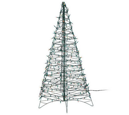 Pre-Lit 5' Fold Flat Outdoor Christmas Tree by Lori Greiner