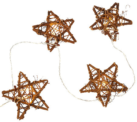 ED On Air Set of 2 10' Rattan Star Light Strand by Ellen DeGeneres