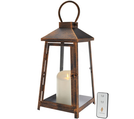 "Luminara 14"" Hampton Indoor Outdoor Lantern with Flameless Candle & Remote"
