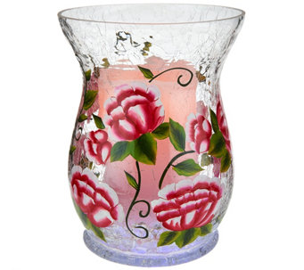 Lightscapes Handpainted Glass Hurricane with Flameless Candle - H207962