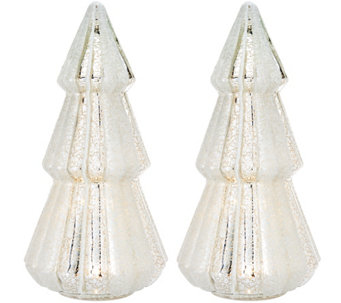 """As Is"" Set of2 12"" Illuminated Mercury Glass Trees by Valerie - H210262"