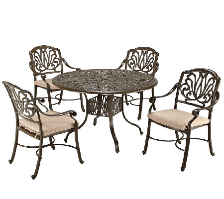 Home Styles Floral Blossom Taupe 5-Pc Dining Set, Arm Chairs