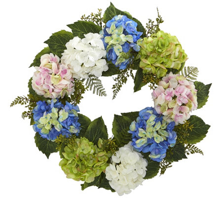 "24"" Hydrangea Wreath by Nearly Natural"