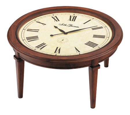 Seth Thomas Walnut Finish Round Coffee Table Clock