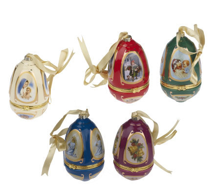Set of 5 Porcelain Musical Eggs by Valerie