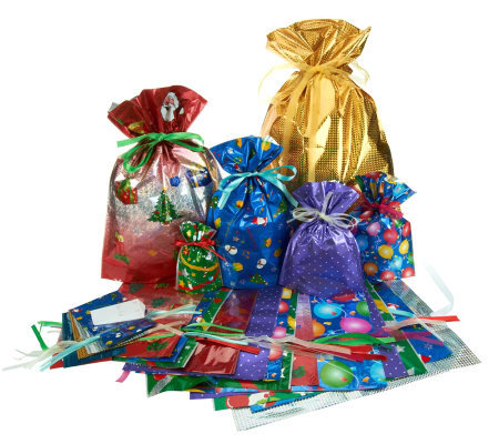 Kringle Express 50-Piece E-Z Drawstring Holiday Gift Bag Set