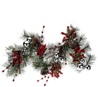 "24"" Iced Pine w/ Berries Wreath or 4' Garland by Valerie - H203863"