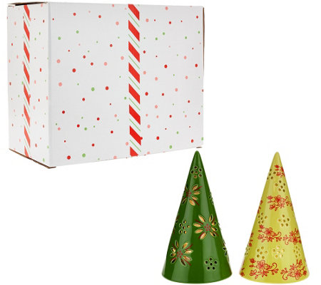 "Temp-tations Set of 2 7"" Lit Cone Trees with Gift Boxes"