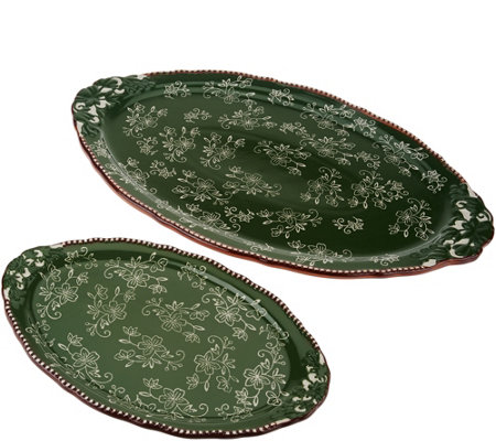 Temp-tations Floral Lace Set of 2 Serving Platters