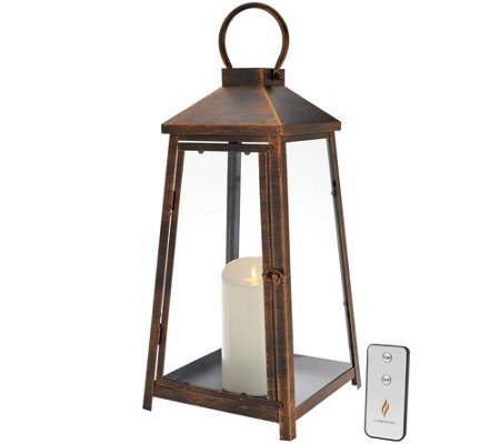 "Luminara 18"" Hampton Indoor Outdoor Lantern with Flameless Candle & Remote"
