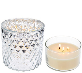 Mercury Glass Cylinder with 8 oz 3-candle by Valerie - H208963