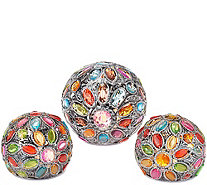 """As Is"" Set of 3 Kaleidoscope Gem Spheres by Valerie - H209363"
