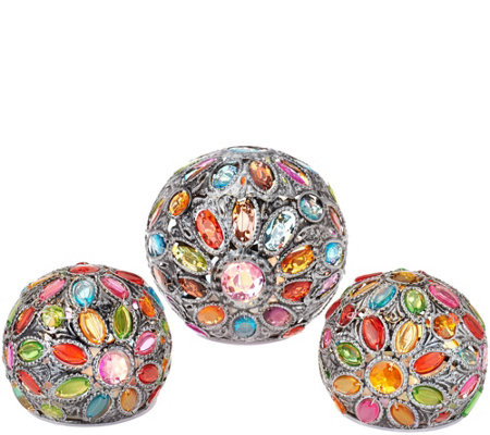 """As Is"" Set of 3 Kaleidoscope Gem Spheres by Valerie"