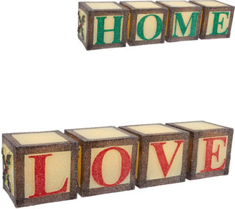 """As Is"" 2-in-1 Illuminated Reversible Word Blocks by Valerie - H210263"